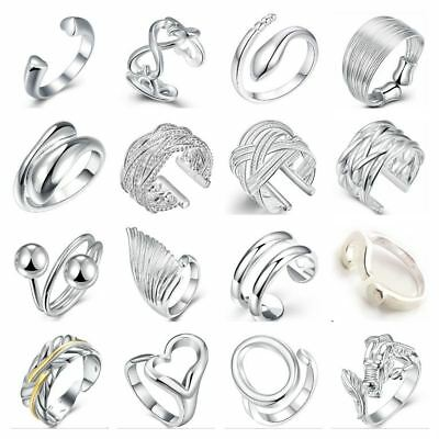 *UK Shop* SILVER PLATED P1/2 ADJUSTABLE OPEN BAND RING TOE KNUCKLE MIDI THUMB • 3.99£