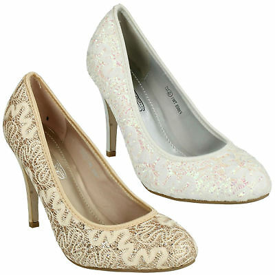 £15 • Buy F9r603 Ladies Spot On Slip On Sparkly Lace Evening High Heel Wedding Court Shoes