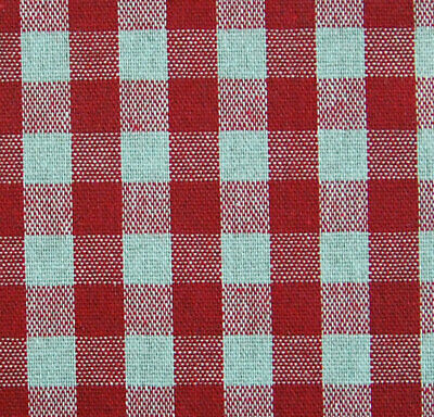 French Linen Oilcloth Red 10mm Gingham Bistro Check Machine Washable Table Cloth • 8£