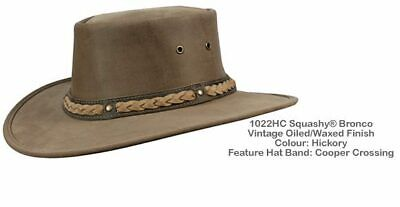 $ CDN61.34 • Buy Barmah 1022 HC Hickory Squashy Bronco Leather Hat With Cooper Hat Band