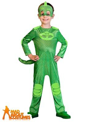 PJ Masks Child Gekko Costume Girls Boys Superhero Fancy Dress Outfit Kids • 18.99£