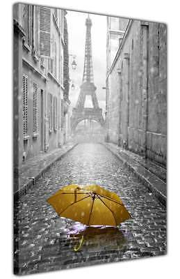 £9.99 • Buy Paris Eiffel Tower With Umbrella Canvas Print City Pictures Living Room Wall Art