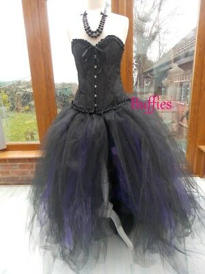 Long Tutu Black Witch Halloween Fancy Dress Vixen Vampire Gothic Wedding Sz 6-20 • 32£