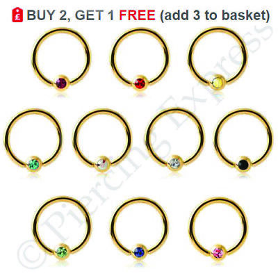 GOLD Ball Closure Ring Captive Bead Hoop BCR Ear Nose Nipple Septum CRYSTAL Ball • 1.55£