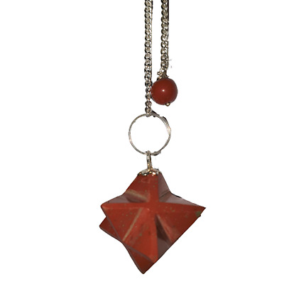 Gemstone Merkaba / Star Pendulum With Chain - Red Jasper - Effort • 6.50£