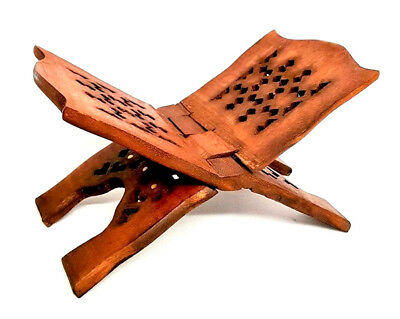 £3.99 • Buy REDUCED: Quran Stand-Rehal (Brass Inlay)Quality Wooden Book Holder-Small-32x15cm
