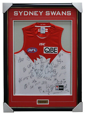 AU895 • Buy Sydney Swans 2018 Signed Official AFL Team Jumper Framed Buddy Franklin + COA