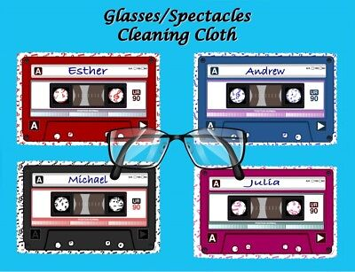 Personalised Retro Audio Cassette Glasses/spectacles Cleaning Cloth Gift Idea • 2.75£