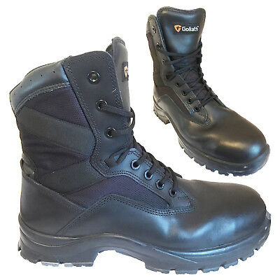 BRITISH ARMY - GOLIATH Black Leather Safety Combat Boots ST Steel Toe SURPLUS • 50£