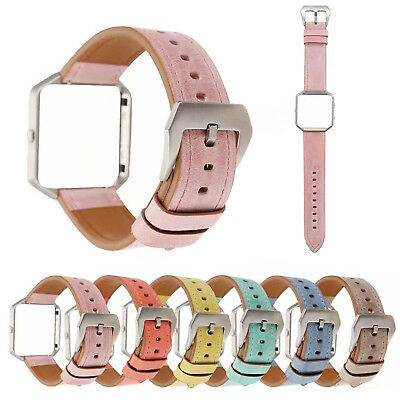 AU16.89 • Buy Stylish Genuine Leather Band Bracelet Metal Cover For Fitbit Blaze Watch Strap