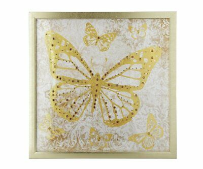 GOLD Butterfly BUTTERFLIES Embellished DIAMANTE Framed Print Wall Art Picture • 19.99£