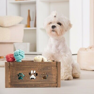 Paw Shaped Dog Toys Chest Storage Collection Box Wooden Crates Gift Hampers • 9.99£