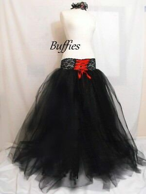 Ladies Long Tutu Tulle Net Black Corset Skirt Witch Vixen Goth Wedding Size 6-22 • 35£