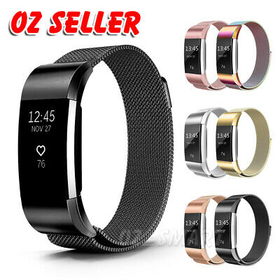 AU12.95 • Buy For Fitbit Charge 2 Band Metal Stainless Steel Milanese Loop Wristband Strap