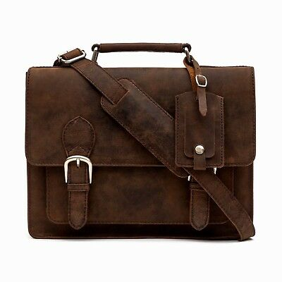 Porterbello Small Brown Leather Satchel Briefcase Laptop Bag • 54.99£