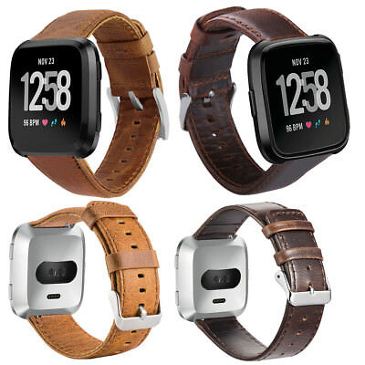 $ CDN15.11 • Buy For Fitbit Versa/Lite/Special Edition Genuine Leather Bracelet Smart Wristbands