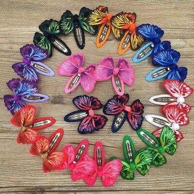 AU4.74 • Buy Girls Kids Baby Bow Hair Clips Sides Snaps Children Ribbon Hair Accessories