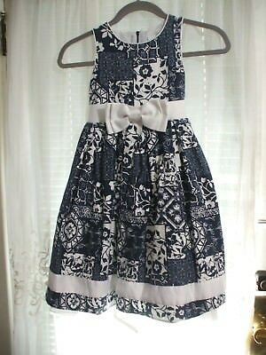 Sugar Plum Girl 6X Blue & White Special Occasion Party Sleeveless Bow Dress • 19.99$