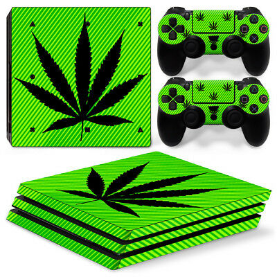 AU10.75 • Buy PS4 Pro Skin Sticker Decal Cover Console &2 Controller GREEN WEED CANNABIS LEAF