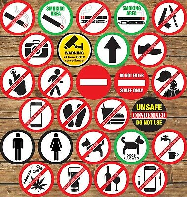 $ CDN13.83 • Buy Warning Signs Stickers Self Adhesive✔CCTV✔Smoking✔Caution✔Food✔Drink✔Dogs✔Access