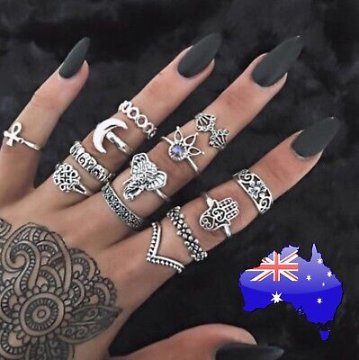 AU9.90 • Buy 13 Pcs Ring SET Boho Midi Finger Elephant Moon Flower Stacking Silver Rings New