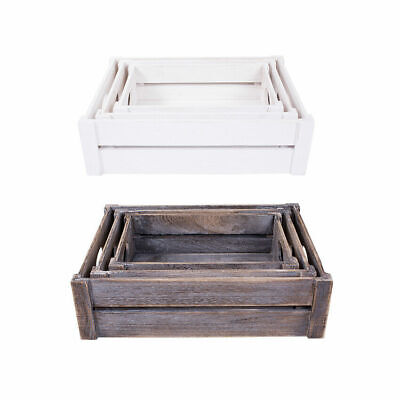 White/Brown Wooden Apple Crates Storage Box Display Tray Christmas Hampers • 8.99£