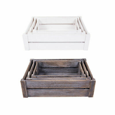 £7.99 • Buy White/Brown Wooden Apple Crates Storage Box Display Tray Christmas Hampers