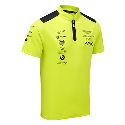 Sale! Aston Martin Racing Team Mens Polo Shirt In Lime Green With Zip Collar • 19.95£