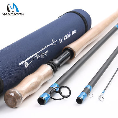 $107 • Buy Maxcatch Spey/Switch Fly Rod 6/7/8/9/10WT 4/6Sec Two-handed Fishing Rod W/ Tube