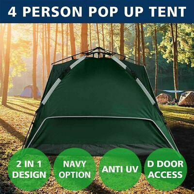 AU40.99 • Buy 4 Person Tent Double Layer Instant Auto Pop Up Camping Hiking Sun Shelter Green