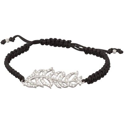 NEW Indie Boho Pave Crystal Feather & Black Macrame Adjustable Cord Bracelet • 7.24£