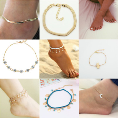 £2.49 • Buy Gold Anklet Cross Crystal Boho Indian Bollywood Payal Multi Chain Adjustable