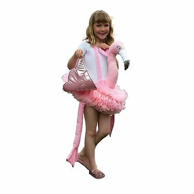 Kids Girls Ride On Pink Flamingo Bird Animal Jungle Party Fancy Dress Costume • 19.11£