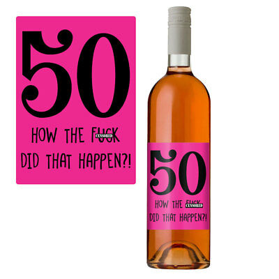 £2.99 • Buy Funny 50th Birthday 50 Today Wine Bottle Label Gift Perfect For Her Women Pink