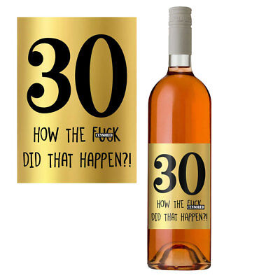 £2.99 • Buy Funny 30th Birthday 30 Today Wine Bottle Label Gift Perfect For Men Women Gold