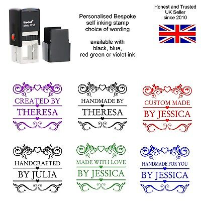 £10.95 • Buy Personalised Handmade By Rubber Stamp Scroll Self Inking With Your Name Business