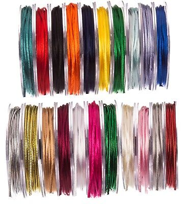 Full Reel Quality 3mm Satin Rattail Silk Cord Stunning 20m On Reel CHOOSE COLOUR • 4.29£