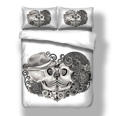 3D Couple Skull Duvet Cover Quilt Cover Bedding Set Pillow Cases All Sizes White • 23.49£