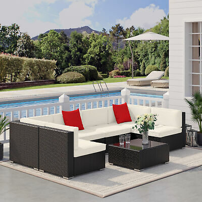 View Details Outsunny 7 Pieces Outdoor Lounge Set Garden Wicker Sectional Sofa Set All • 699.99$ CDN
