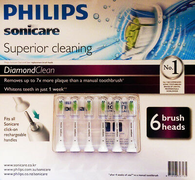 AU69.99 • Buy Geniune Philips Sonicare Diamond Clean 6 X Replacement Electric Toothbrush Heads