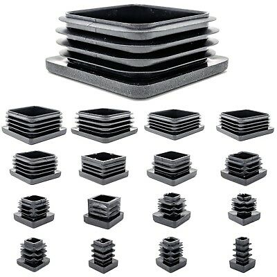 Square Plastic End Caps Blanking Plugs Tube Box Section Insert / BLACK • 8.80£