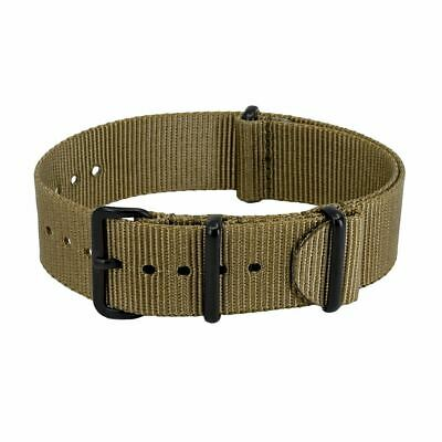 £9.95 • Buy NATO Military-Style Nylon Watch Strap In KHAKI With Black PVD Buckle And Keepers