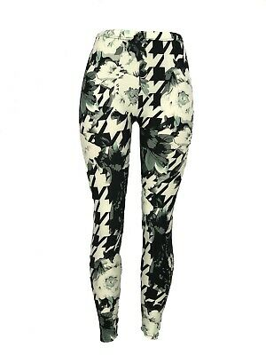 $9.97 • Buy Black White Gray Houndstooth & Flowers OS Leggings Pants Buttery Soft One Size