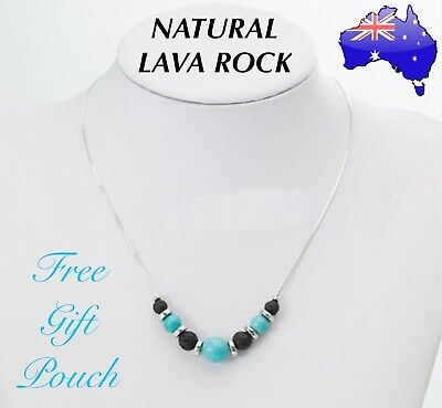 AU13.50 • Buy Natural Lava Rock Turquoise Stone Aromatherapy Essential Oil Diffuser Necklace