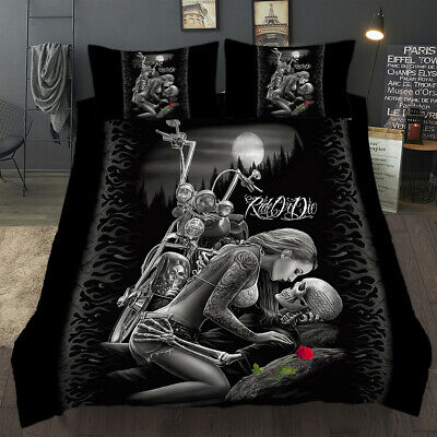 3D Duvet Quilt Cover Skull Beauty Bedding Set Pillowcases Single Double King New • 24.69£