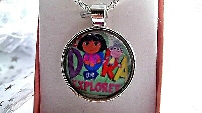 DORA THE EXPLORER SILVER PLATED CHAIN NECKLACE 18 Inch GIFT BOXED,BIRTHDAY PARTY • 4.99£