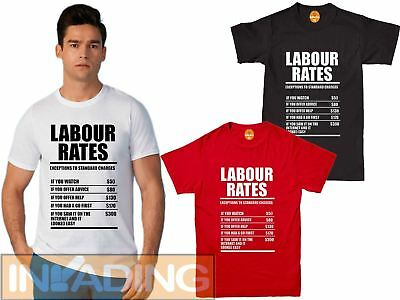 £8.99 • Buy Labour Rates Mens Funny T Shirt - Gift For Mechanic Plumber Electrician Builder