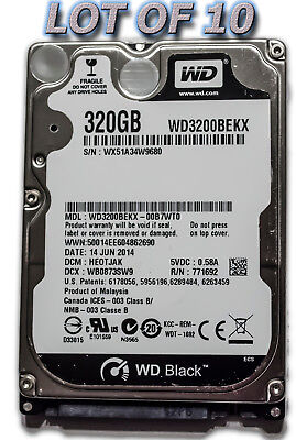 $ CDN482.20 • Buy Lot Of 10 WD BLACK 320GB SATA Hard Disk Drive 2.5 Inch 7200 RPM For Laptop HDD