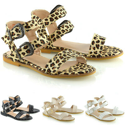 £9.99 • Buy Womens Flat Gladiator Sandals Ladies Double Strap Open Toe Holiday Shoes Size