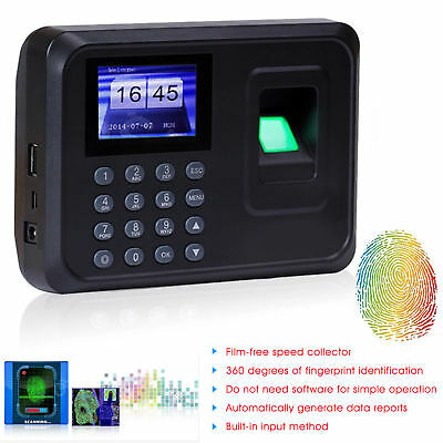 Clocking In Time Recorder Attendance Machine Fingerprint ID Card Password Clock • 44.92£